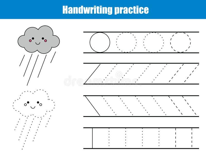 Folha da prática da escrita Jogo educacional das crianças, folha imprimível para crianças Escrita que treina a folha imprimível c ilustração stock