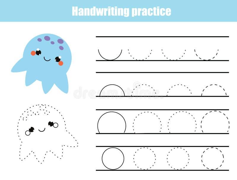 Folha da prática da escrita Jogo educacional das crianças, folha imprimível para crianças Escrita que treina a folha imprimível S ilustração do vetor