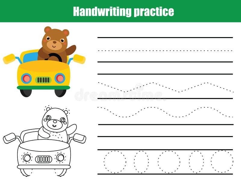 Folha da prática da escrita Jogo educacional das crianças, folha imprimível para crianças Treinamento da escrita, linhas de traça ilustração stock