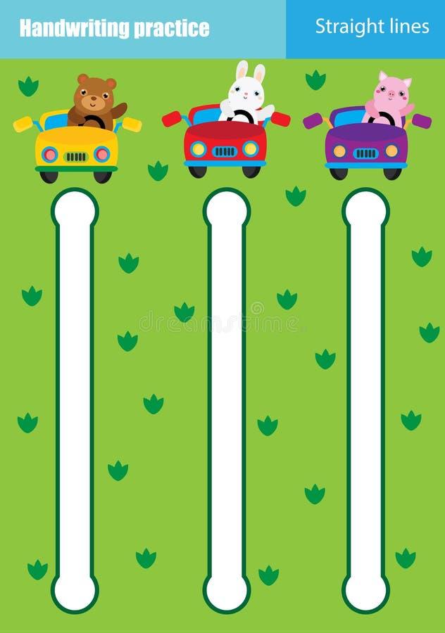 Folha da prática da escrita Jogo educacional das crianças, folha imprimível para crianças Treinamento da escrita Linhas retas de  ilustração stock