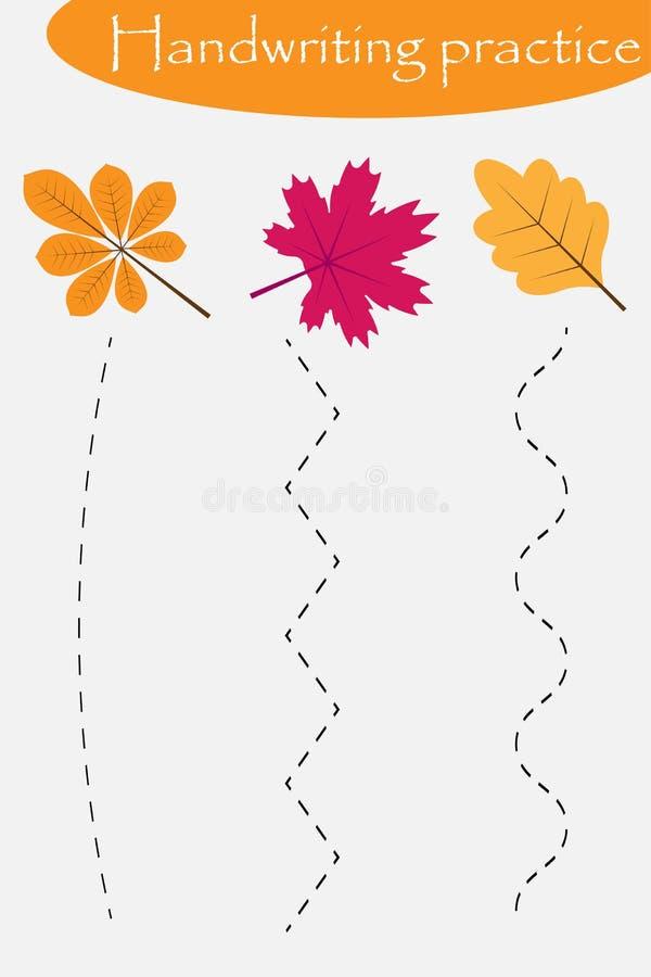 A folha da prática da escrita, queda do outono, folhas coloridas, caçoa a atividade pré-escolar, jogo educacional das crianças, f ilustração do vetor