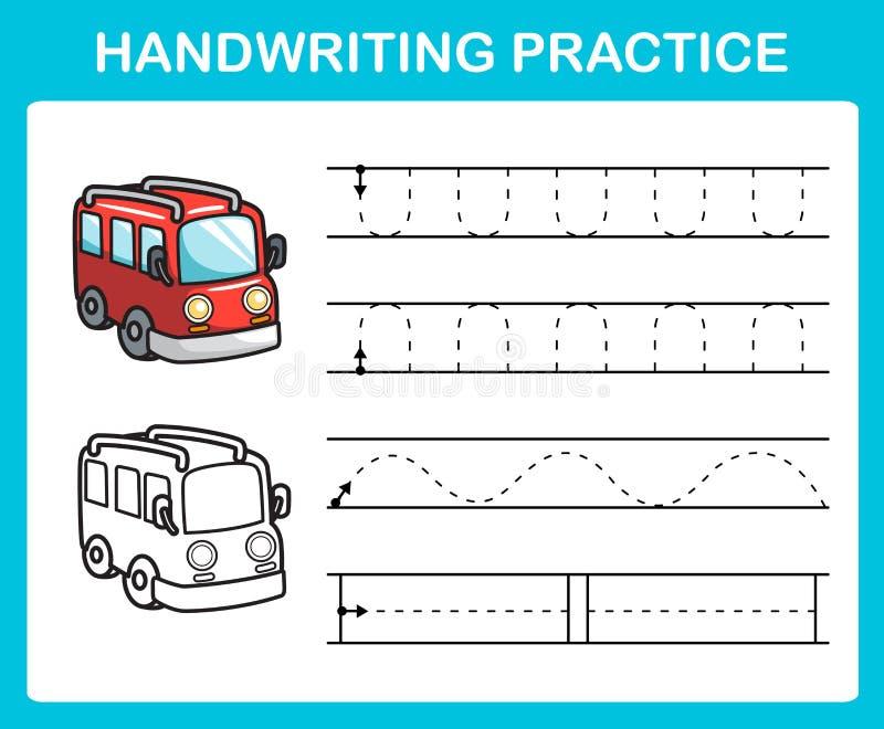 Folha da prática da escrita ilustração do vetor