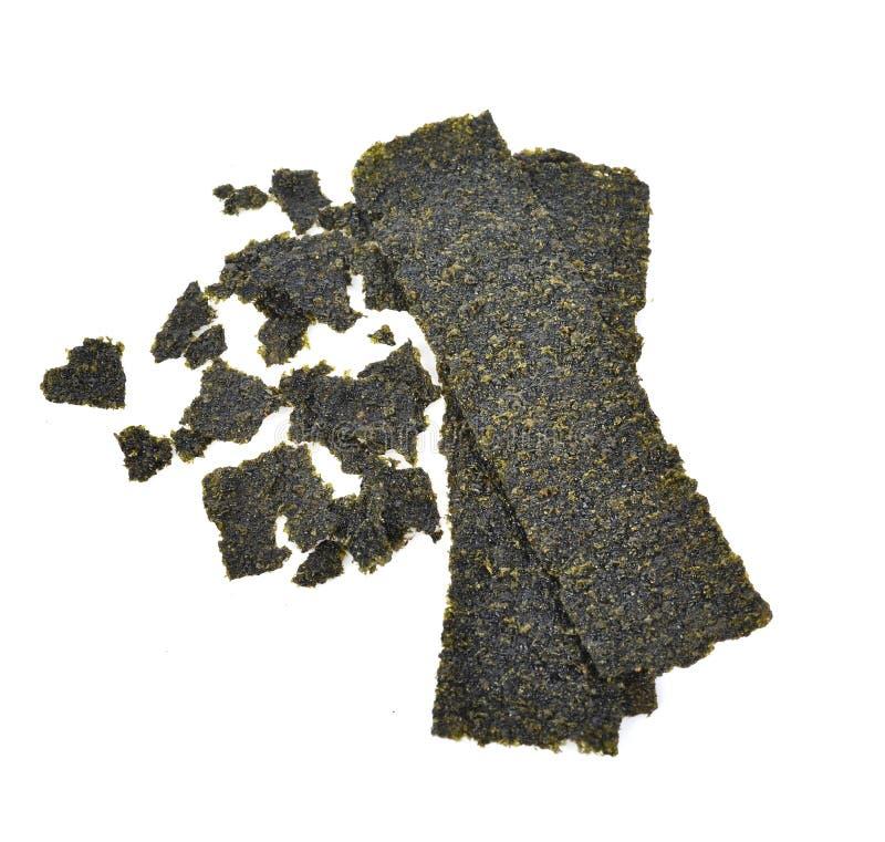 Folha da vista superior da alga secada, alga friável isolada no fundo branco fotografia de stock royalty free