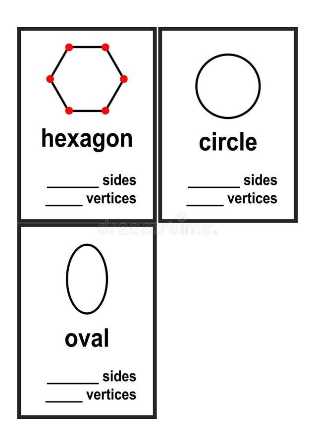 Folha das formas dos lados e dos vértices da contagem para o vetor pré-escolar das crianças ilustração royalty free