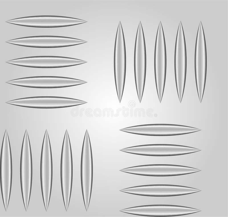 Folha de alumínio gravada quadriculado e do seixo ou de metal do diamante Teste padrão sem emenda realístico do vetor 3d ilustração stock