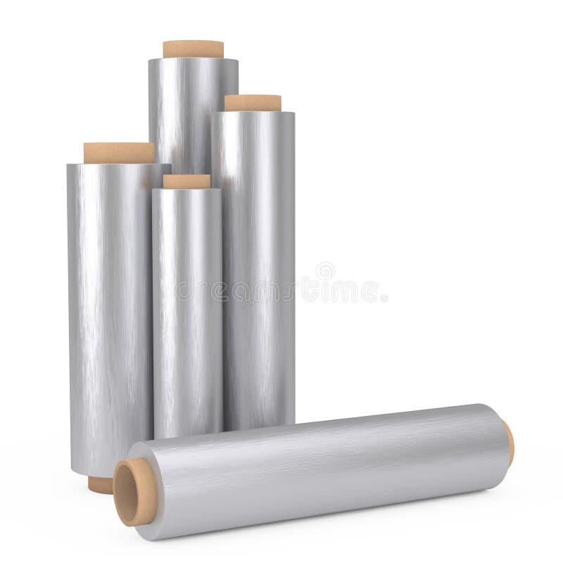 Folha de empacotamento Rolls do metal de alumínio do alimento rendição 3d ilustração royalty free