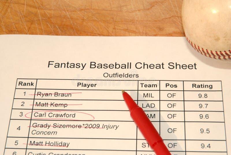 Folha de fraude do esboço do basebol da fantasia imagens de stock royalty free