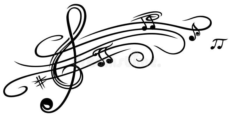 Folha de música, clave ilustração stock