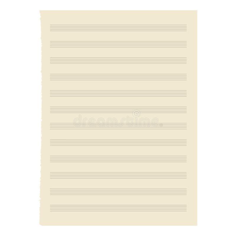Folha de música de papel. ilustração stock