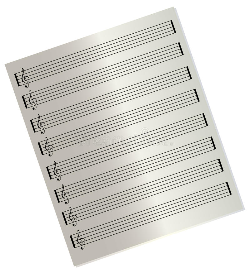 Folha de música em branco ilustração do vetor
