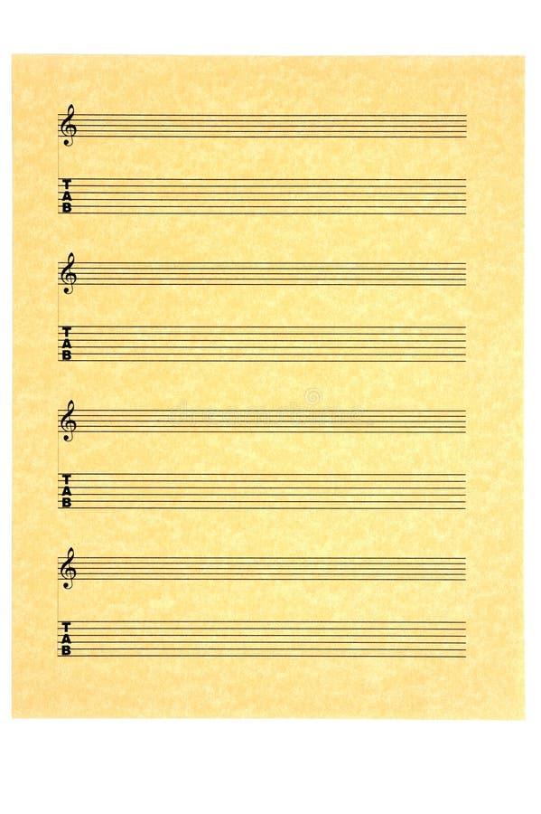 Folha de música em branco da aba da guitarra foto de stock