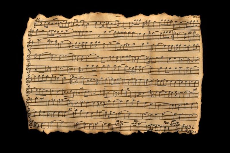 Folha de música envelhecida foto de stock