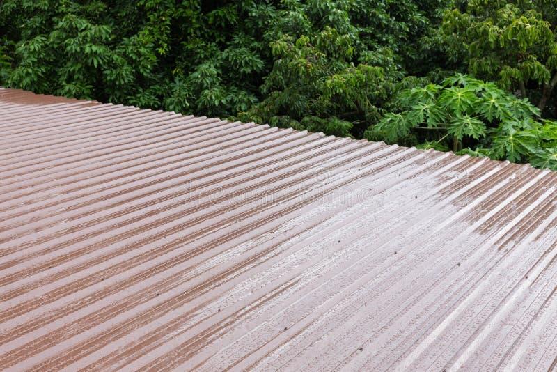 Folha de metal do telhado de Brown foto de stock