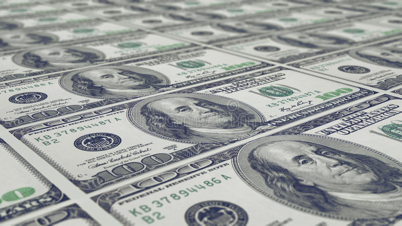 Folha de 100 notas do dólar fotos de stock royalty free