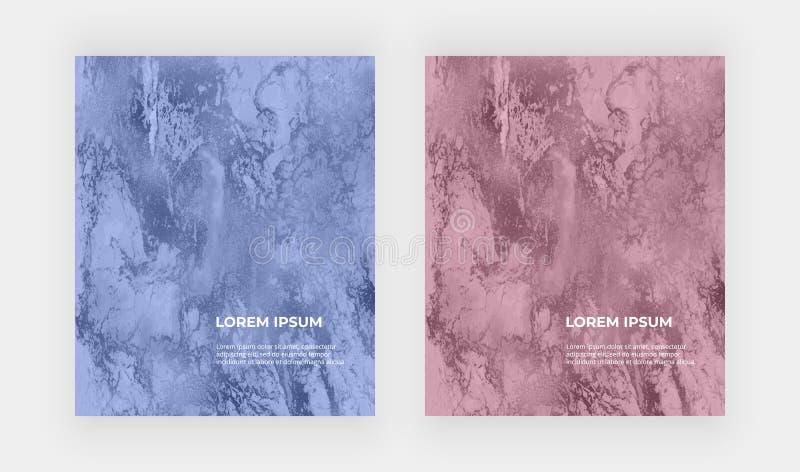 Folha de ouro azul e cor-de-rosa e textura de mármore Teste padrão líquido do sumário da pintura da tinta Fundo na moda para o pa ilustração stock