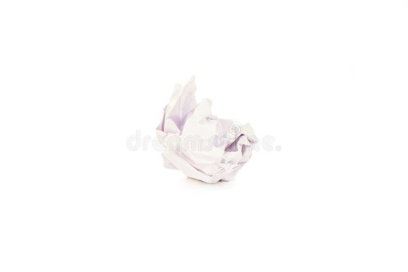 Folha de papel amarrotada isolada no fundo branco imagem de stock royalty free