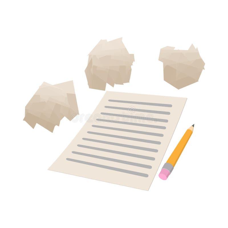 Folha de papel branca e o ícone de papel amarrotado ilustração do vetor
