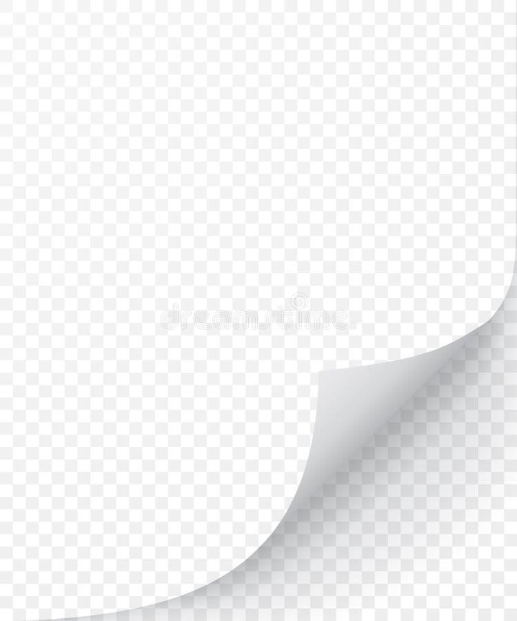 Folha de papel com canto ondulado e a sombra macia, molde para seu projeto jogo Ilustra??o do vetor ilustração stock