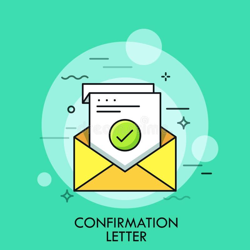 Folha de papel com marca de verificação verde dentro do envelope Conceito da letra da confirmação, da aceitação ou da aprovação,  ilustração royalty free