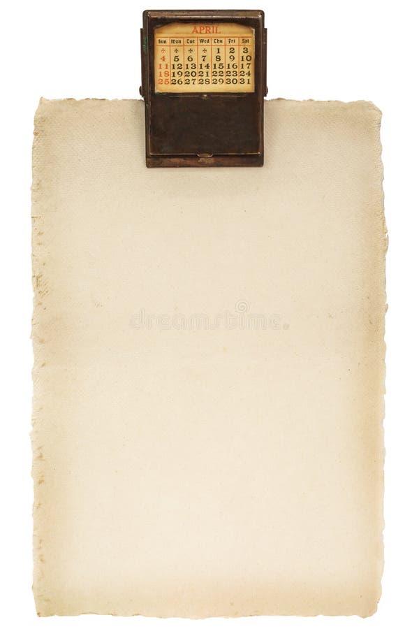 Folha de papel com um grampo do calendário do vintage foto de stock