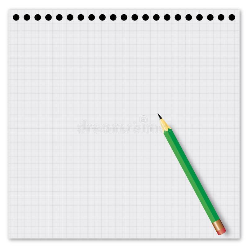 Folha de papel com um lápis verde ilustração do vetor