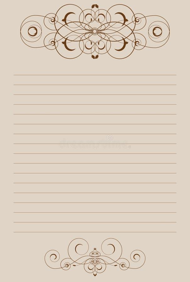 Folha de papel com vinheta ilustração do vetor