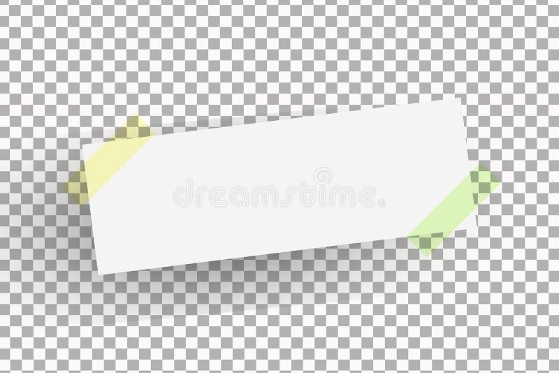 Folha de papel do escritório ou etiqueta pegajosa com a sombra isolada em um fundo transparente ilustração stock