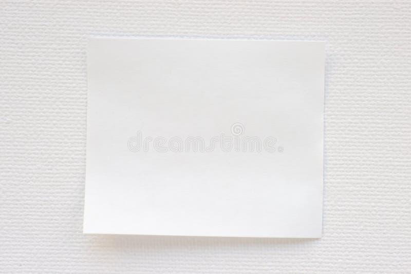 Folha de papel do memorando sobre a textura da lona imagem de stock royalty free