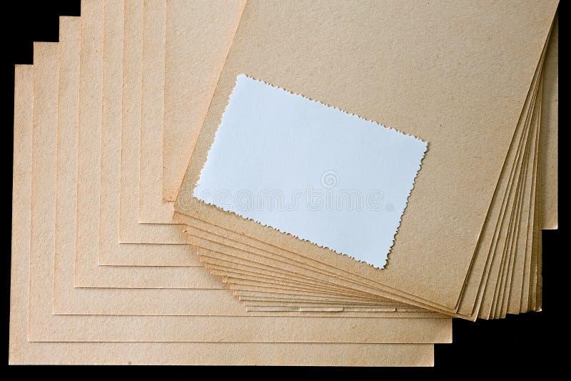 Folha de papel e o cartão áspero, textured imagens de stock