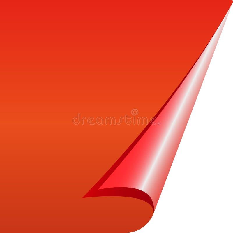 Folha de papel limpa vermelha com um canto dobrado ilustração do vetor