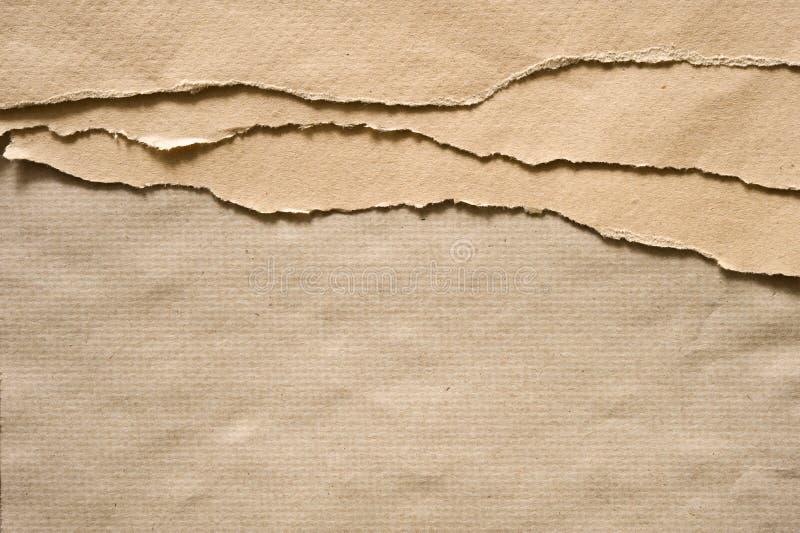 Folha de papel marrom rasgada imagem de stock