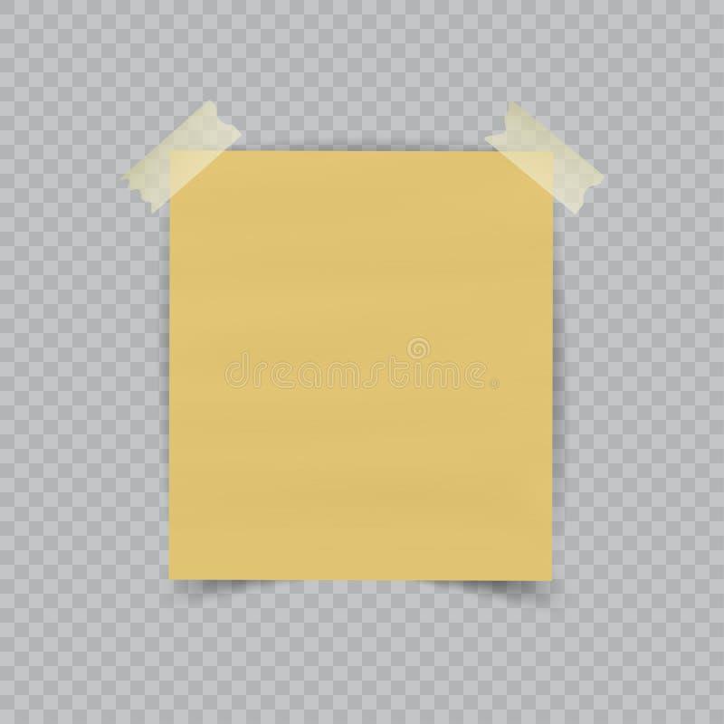 Folha de papel na fita pegajosa translúcida com a sombra transparente isolada no fundo quadriculado Nota amarela vazia ilustração royalty free