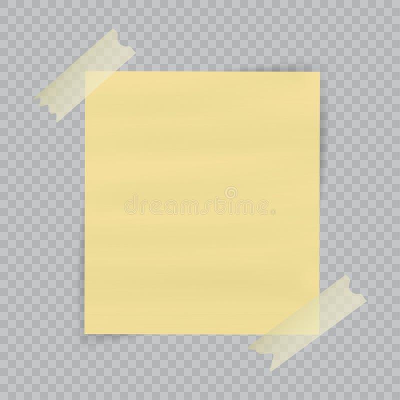Folha de papel na fita pegajosa translúcida com a sombra transparente isolada no fundo quadriculado Nota amarela vazia ilustração do vetor