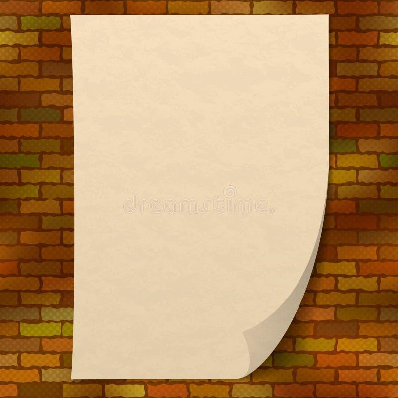 Folha de papel na parede de tijolo ilustração do vetor