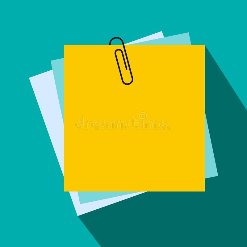 Folha de papel para o ícone das notas, estilo liso ilustração royalty free