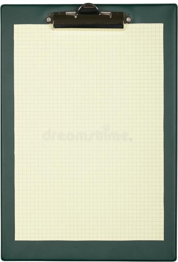 Folha de papel quadriculado na prancheta verde - fotos de stock royalty free