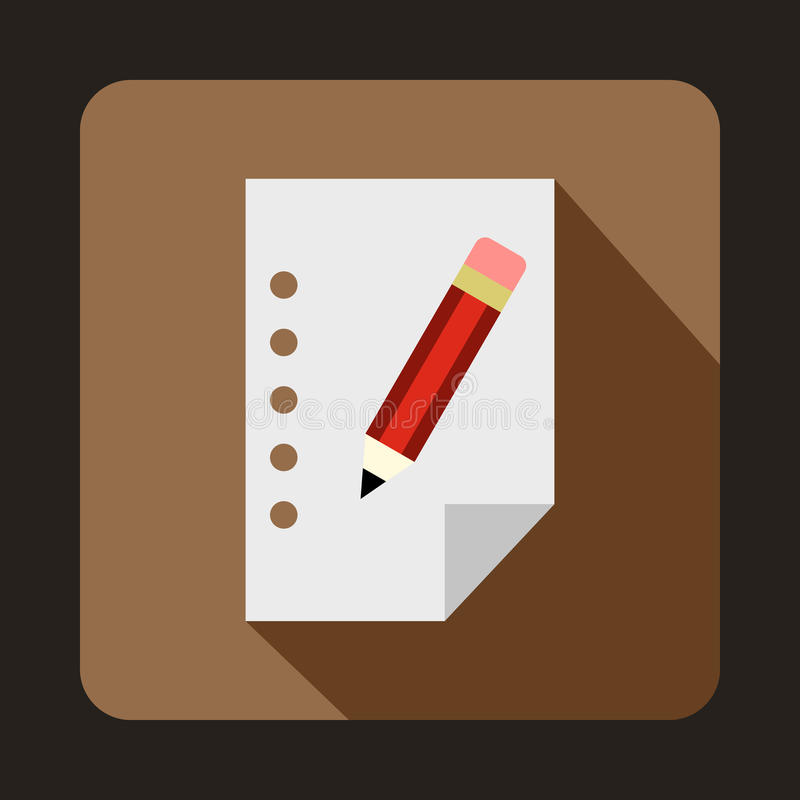 Folha de papel vazia e um ícone do lápis, estilo liso ilustração royalty free
