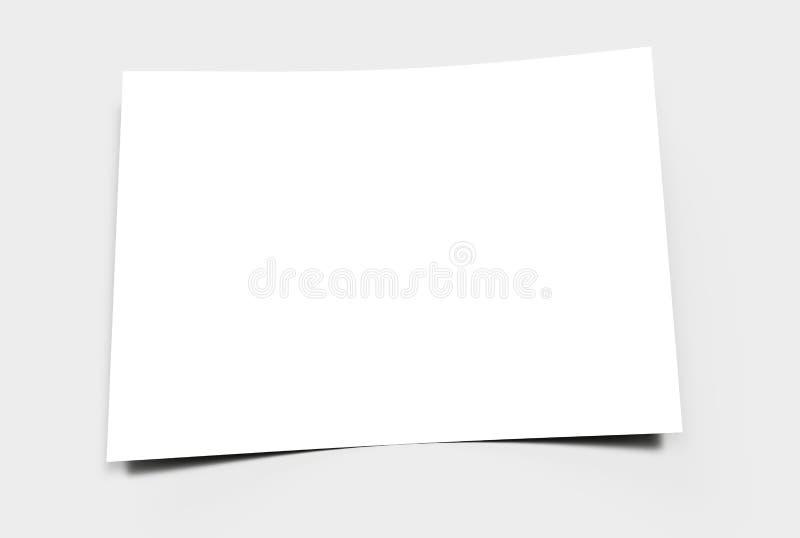 Folha de papel vazia em uma superfície cinzenta ilustração royalty free