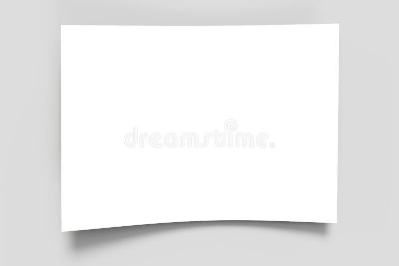 Folha de papel vazia em uma superfície cinzenta ilustração do vetor