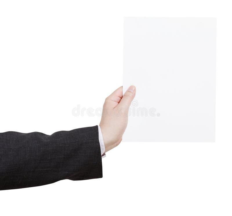 Folha de papel vazia na mão do professor imagens de stock