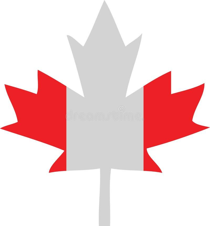 Folha de plátano da bandeira de Canadá ilustração royalty free