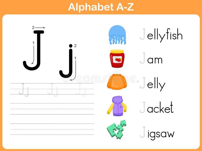 Folha de seguimento do alfabeto ilustração do vetor
