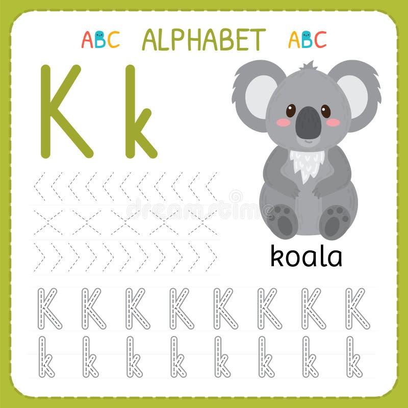 Folha de seguimento do alfabeto para o pré-escolar e o jardim de infância Letra K da prática da escrita Exercícios para crianças ilustração do vetor