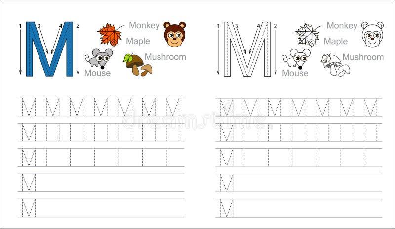 Folha de seguimento para a letra M ilustração royalty free