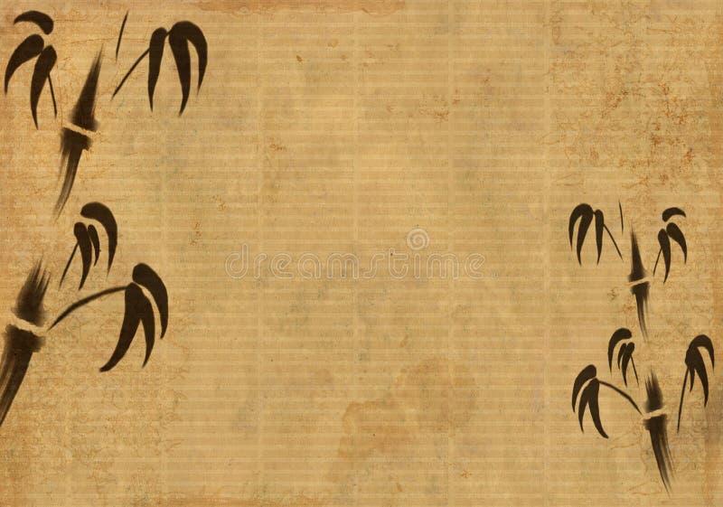 Folha de um papel de arroz velho com figura de um bambo ilustração stock
