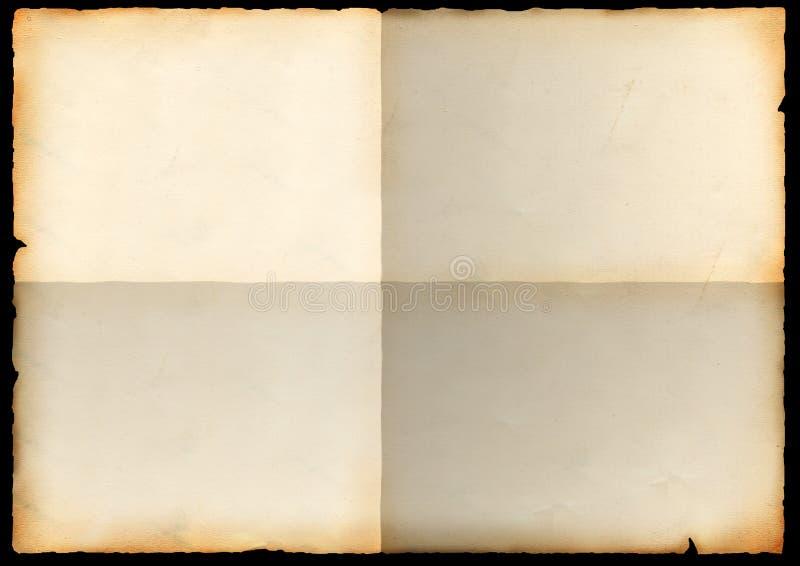 Folha de um papel velho com curvaturas foto de stock