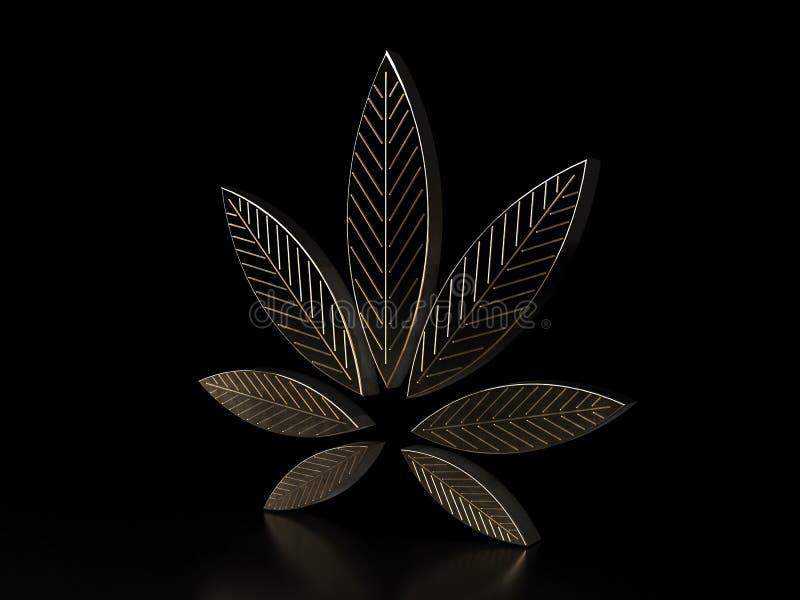 Folha do cannabis no fundo preto Folha dourada da marijuana Erva à moda da marijuana da droga da folha do cannabis do ouro, 3D fotos de stock royalty free