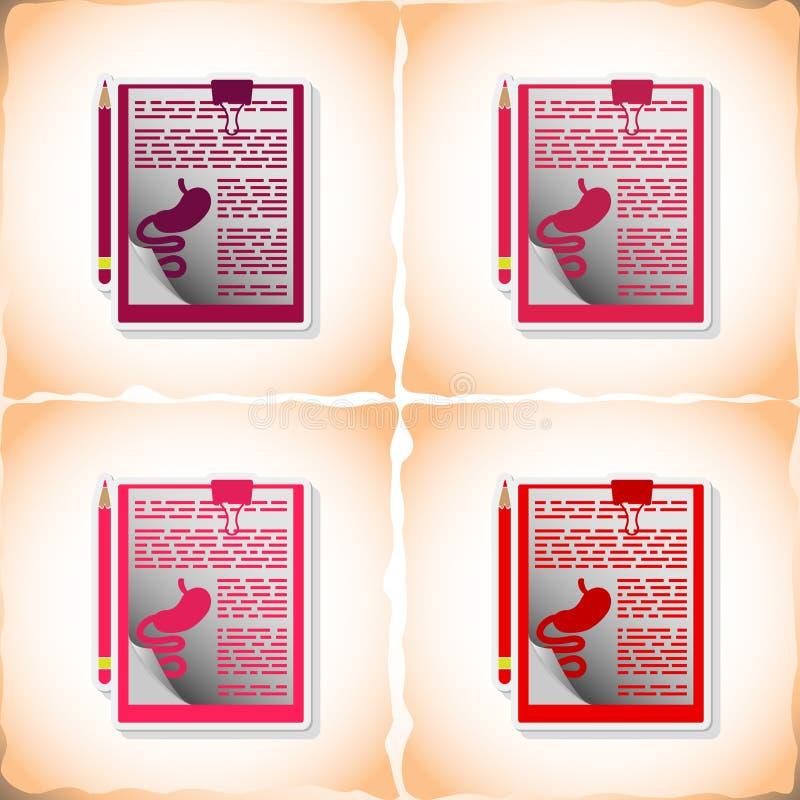 Folha do exame m?dico Etiqueta lisa com sombra no papel velho ilustração do vetor