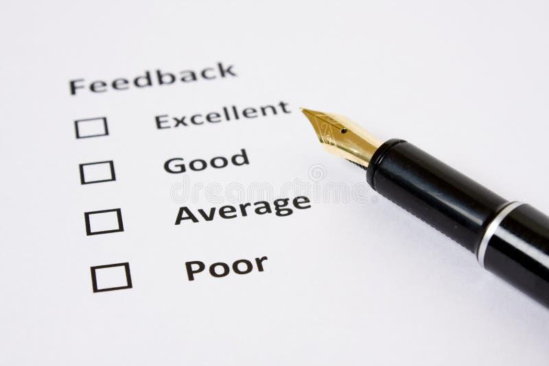 Folha do feedback/avaliação foto de stock