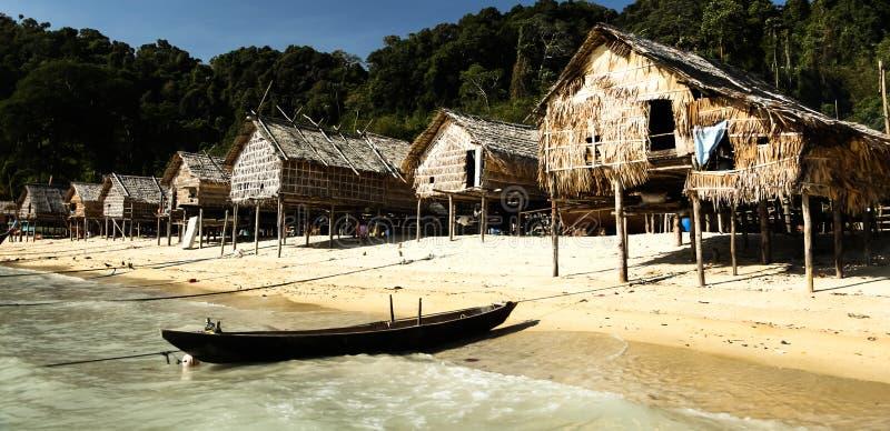Folha do insular e casa de madeira imagem de stock royalty free